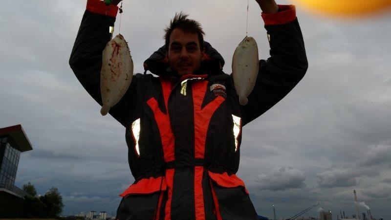 Gijs, tong vissen in de Nieuwe Waterweg