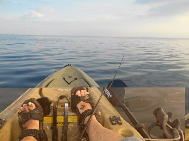 Samen met Richard, op de baars, vanuit de kayak