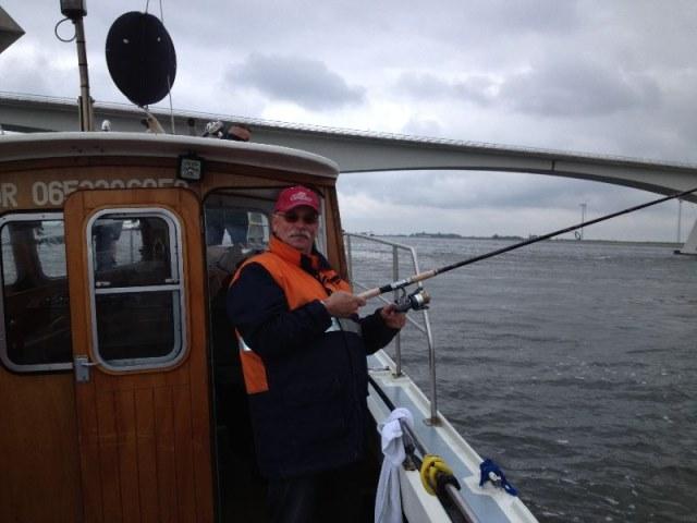 Cock aanderWiel, dagje vissen met de collega