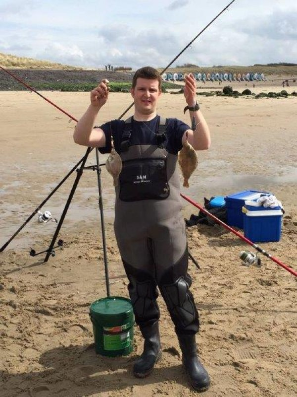 Huib en buurman, strandvissen Nollestrand